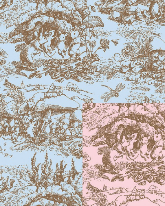 Baby Toile Reversible Gift Wrap - Half Ream