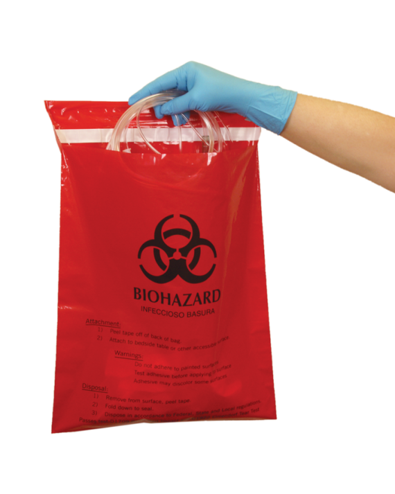 Red Biohazard Stick-On Bags