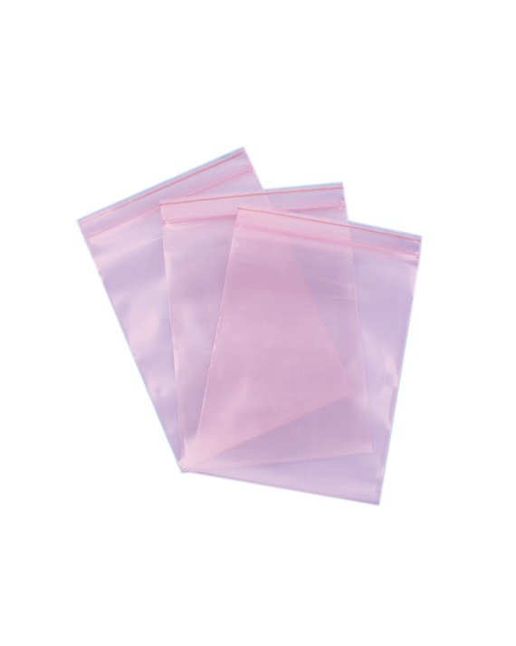 Pink Anti-Static Poly Zip Bags