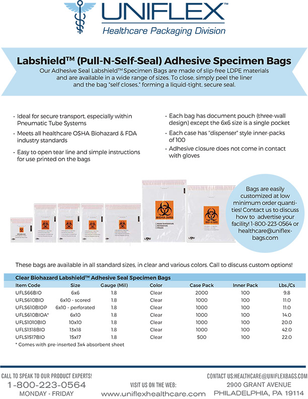 Labshield Adhesive Specimen Bags